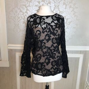 INC black lace with nude 1X bell sleeve sexy top